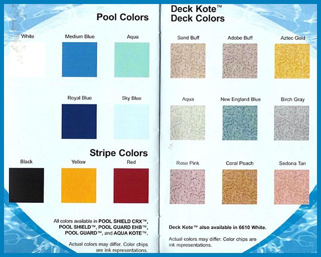 Epoxy paint for concrete pool deck for Concrete swimming pool paint colors