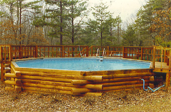 pool matches log cabin home